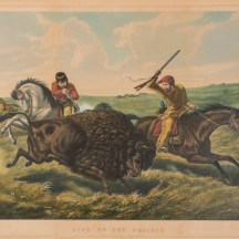 "Image courtesy of Winterthur Museum Collection Digital Database, 1953.0155.074 ""Life on the Prairie/ The Buffalo Hunt"""