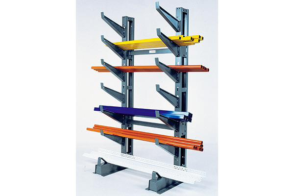 button on cantilever storage rack