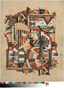 """Walter Mitschke for H. R. Mallinson & Co. Drawing for """"Zuni Tribe,"""" ca. 1927. Pencil and gouache on paper. Museum of Fine Arts Boston, Gift of Robert and Joan Brancale, 2008.1950.35."""