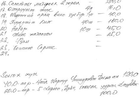 Anticipated Lunar New Year expenses for a household in rural Mongolia. Gifts make up a large part of the budget. Courtesy of G. Munkherdene.