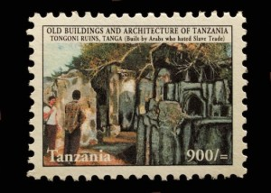 """The parenthetical message - """"Built by Arabs who hated slave trade [sic]"""" - overlying this image of Tongoni Ruins, a Swahili urban site on Tanzania's coast, belies knowledge about the origins of these settlements, which are indigenous, as well as the robust Arab slave trade in East Africa."""