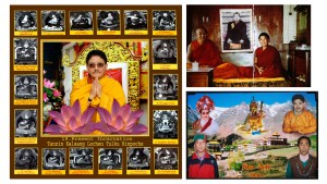 I have been photographing in Spiti since 1993. I am currently interested in modified vernacular photography: painted or hand coloured black and white photographs, digital portraits pasted on to computer generated landscapes or montages of multiple portraits.  On the left is a portrait of the current Lochen Tulku, spiritual head of Key monastery. Surrounding the central figure are the eighteen previous incarnations of this lineage reproduced from thangkas in the monastery. These images have been scanned in from Roberto Vitali and Tashi Tsering's black and white book on the history of Key monastery, where their reproduction in monochrome was probably a question of limited  budget. But in this composite image, the monochrome introduces an extra sense of the historical.  The upper right image is a colour enprint from Key monastery. It depicts a much younger Lochen Tulku with Kyabje Tsenshap Rinpoche, one of his gurus and the former debating partner and religious assistant to the Dalai Lama. Mounted on card, it is now cracked in two. A hand coloured, monochrome passport sized image of the 10th Panchen Lama, its surface also cracked, has been pasted on, montaged using pre-Photoshop technology. The lineages and monastic seats of the Panchen Lama and Lochen Tulku are intertwined. Geopolitics precluded their actual meeting, but in the photograph they have been brought together.  On the lower right another image containing a photograph of the Lochen Tulku:  It's a complex family portrait of Dorje Phuntsog with his son, taken from his house in Mud.  Above them the late Dudjom Rinpoche, head of the Nyimgma School of Tibetan Buddhism, Guru Rinpoche (Padmasambhava) and again the Lochen Tulku. These are all layered on to a photograph of Kungri monastery.  These modifications seem to expresses a local dissatisfaction with the limitations of straight photography: specifically its ability to articulate complex ideas about identity. They circumvent the restrictions of time and geo-political circumstance and allow for the manifestation of actual, perceived or proposed connections, genealogies and lineages.   But I am a practitioner, a photographer, and my main interest is in making visual work. I am planning to experiment within this territory of manipulation.  To return to Spiti taking a scanner, digital camera, portable colour printer and an archive of photographs: a kind of portable digital studio I will bring to the theatre performers I work with. I plan to make portraits in collaboration with them to discover what they choose to bring within the overall frame, where they place these disparate elements and how they articulate their rationale.  Patrick Sutherland, School of Media, LCC.