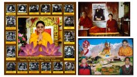 I have been photographing in Spiti since 1993. I am currently interested in modified vernacular photography: painted or hand coloured black and white photographs, digital portraits pasted on to computer generated landscapes or montages of multiple portraits. On the left is a portrait of the current Lochen Tulku, spiritual head of Key monastery. Surrounding the central figure are the eighteen previous incarnations of this lineage reproduced from thangkas in the monastery. These images have been scanned in from Roberto Vitali and Tashi Tsering's black and white book on the history of Key monastery, where their reproduction in monochrome was probably a question of limited budget. But in this composite image, the monochrome introduces an extra sense of the historical. The upper right image is a colour enprint from Key monastery. It depicts a much younger Lochen Tulku with Kyabje Tsenshap Rinpoche, one of his gurus and the former debating partner and religious assistant to the Dalai Lama. Mounted on card, it is now cracked in two. A hand coloured, monochrome passport sized image of the 10th Panchen Lama, its surface also cracked, has been pasted on, montaged using pre-Photoshop technology. The lineages and monastic seats of the Panchen Lama and Lochen Tulku are intertwined. Geopolitics precluded their actual meeting, but in the photograph they have been brought together. On the lower right another image containing a photograph of the Lochen Tulku: It's a complex family portrait of Dorje Phuntsog with his son, taken from his house in Mud. Above them the late Dudjom Rinpoche, head of the Nyimgma School of Tibetan Buddhism, Guru Rinpoche (Padmasambhava) and again the Lochen Tulku. These are all layered on to a photograph of Kungri monastery. These modifications seem to expresses a local dissatisfaction with the limitations of straight photography: specifically its ability to articulate complex ideas about identity. They circumvent the restrictions of time and geo-political 