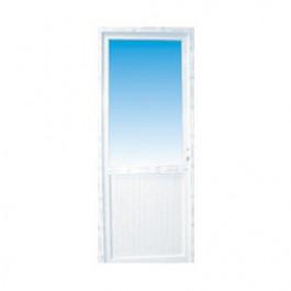 porte de service pvc 1 2 vitre claire poussant droit 215 x 90 cm