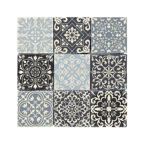 carreau carrelage baroque gris travertin decore 3711 9 8 x 9 8 x 1 cm