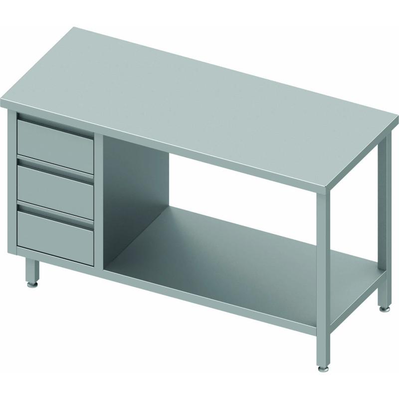 table inox avec 3 tiroirs a gauche et etagere gamme 600 stalgast
