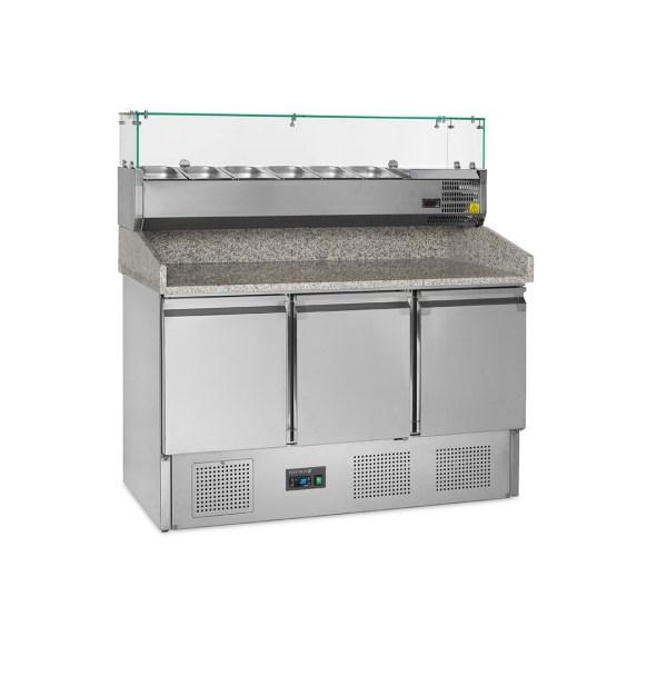 PT1365 TABLE A PIZZA, FROID VENTILE +2 +10°C, 3-PORTES, 136CM, PROFONDEUR 700, GN, AVEC CONSOLE RÉFRIGÉRÉE
