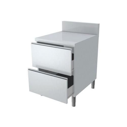 meuble avec 2 tiroirs dessus en inox p 700