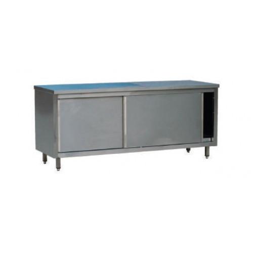 armoire basse avec porte coulissante acier inox profondeur 600 mm