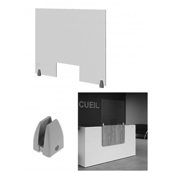 separateur pour banque d accueil en plexiglas avec ouverture hauteur 750 mm