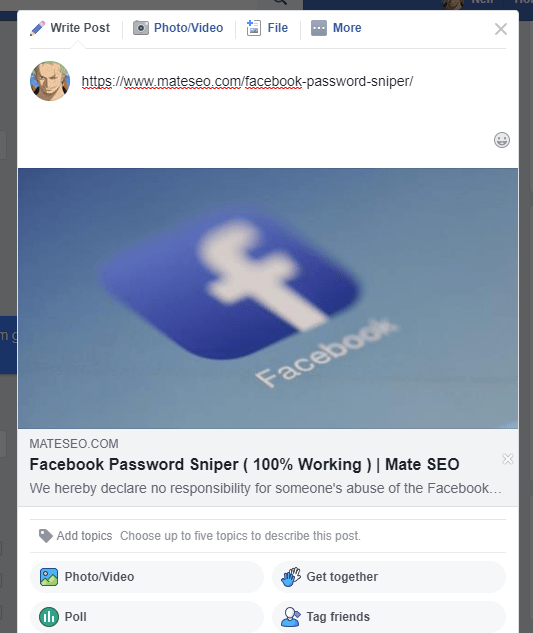 facebook preview box shows the old featured image