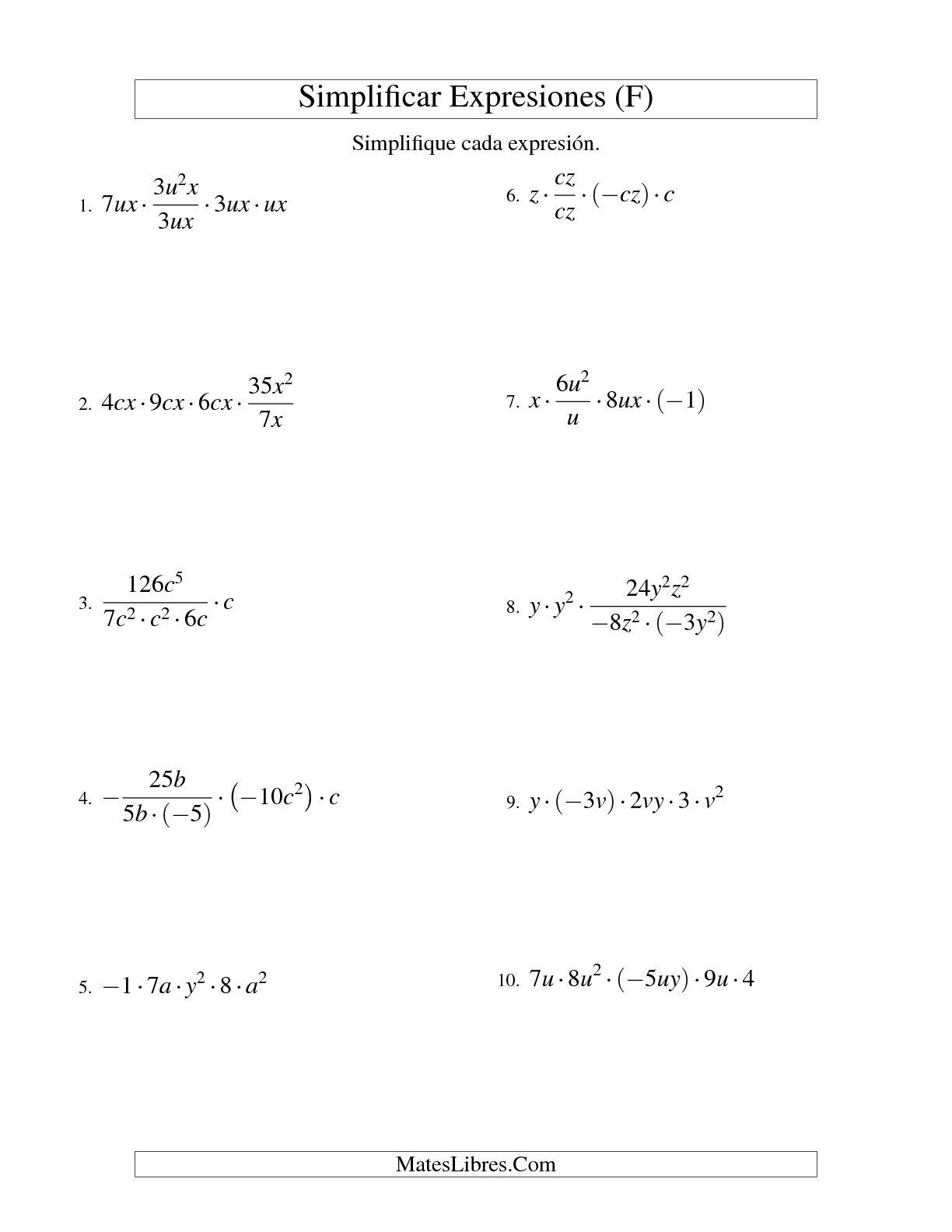 Simplificar Expresiones Algebraicas Multiplicacion Y Division Dos Variables Cinco Terminos F