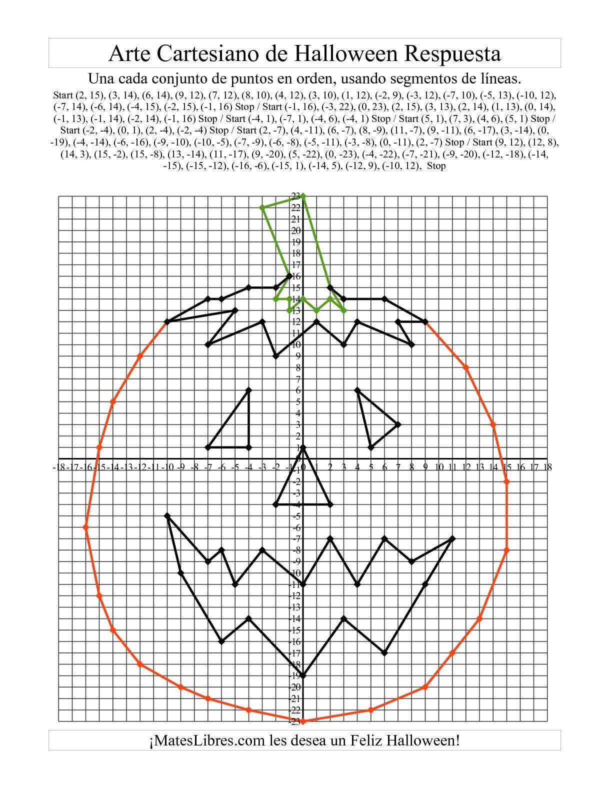 Arte Cartesiano De Halloween Calabaza Hoja De Ejercicio