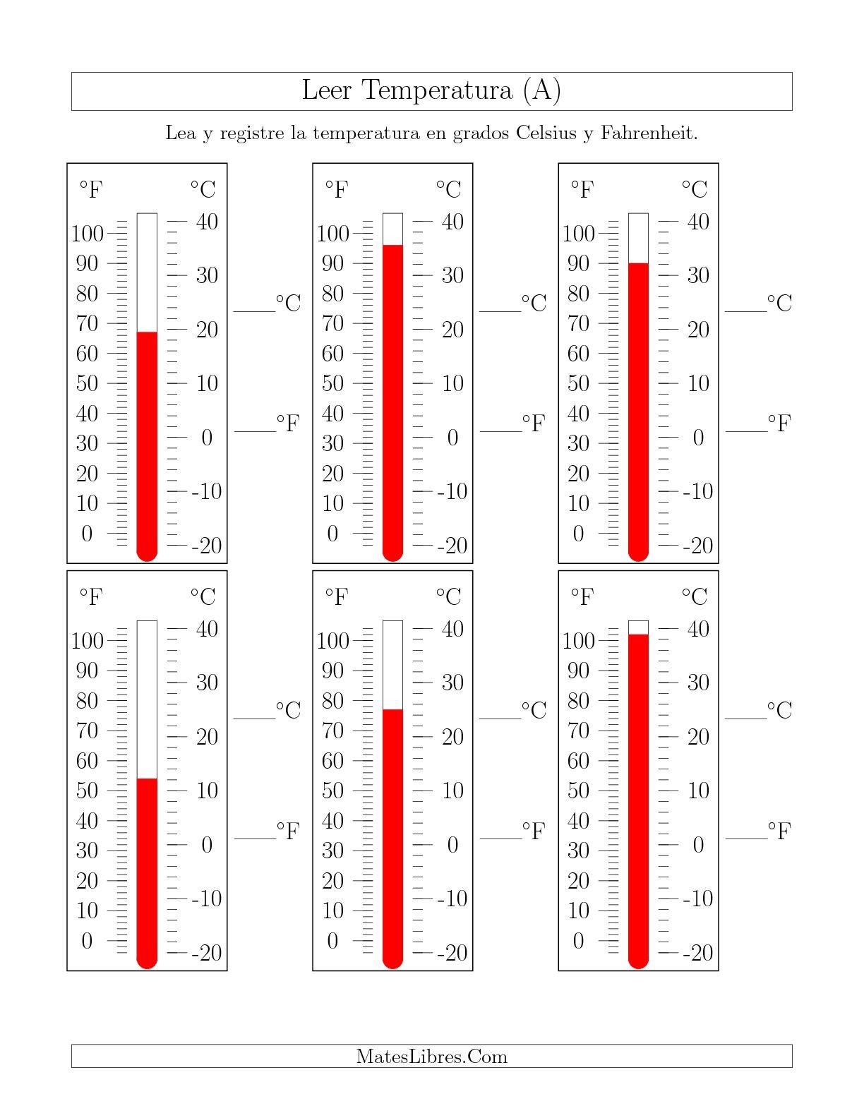 Leer Temperatura De Termometros A Hoja De Ejercicio De