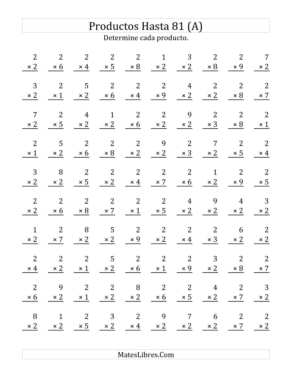 Multiplicar De 1 A 9 Por 2 A Hoja De Ejercicio De Multiplicacion