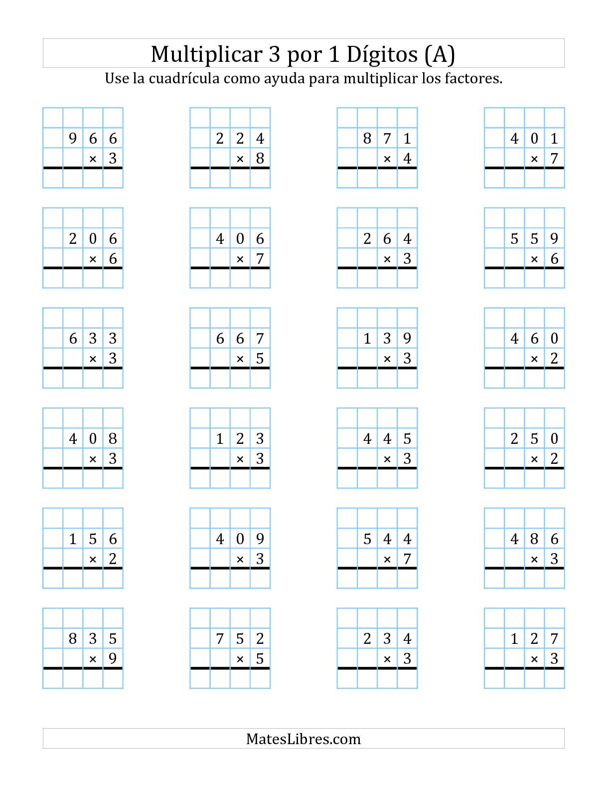 Multiplicacion En Cuadricula Tres Digitos Por Un Digito