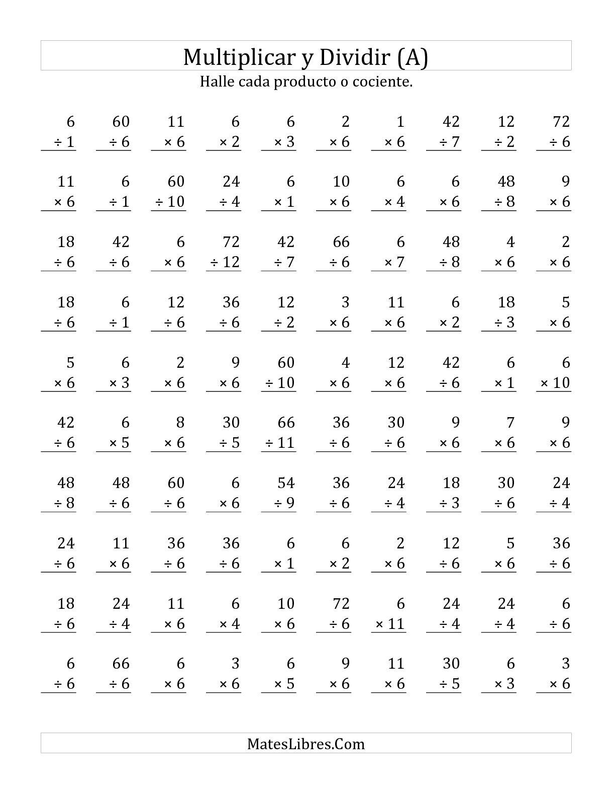 Multiplicar Y Dividir Por 6 A Hoja De Ejercicio De