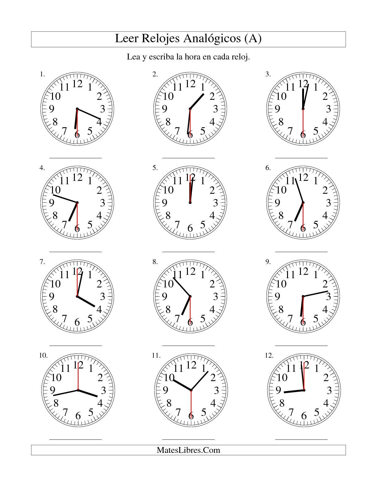 Leer La Hora En Un Relojogico En Intervalos De 30