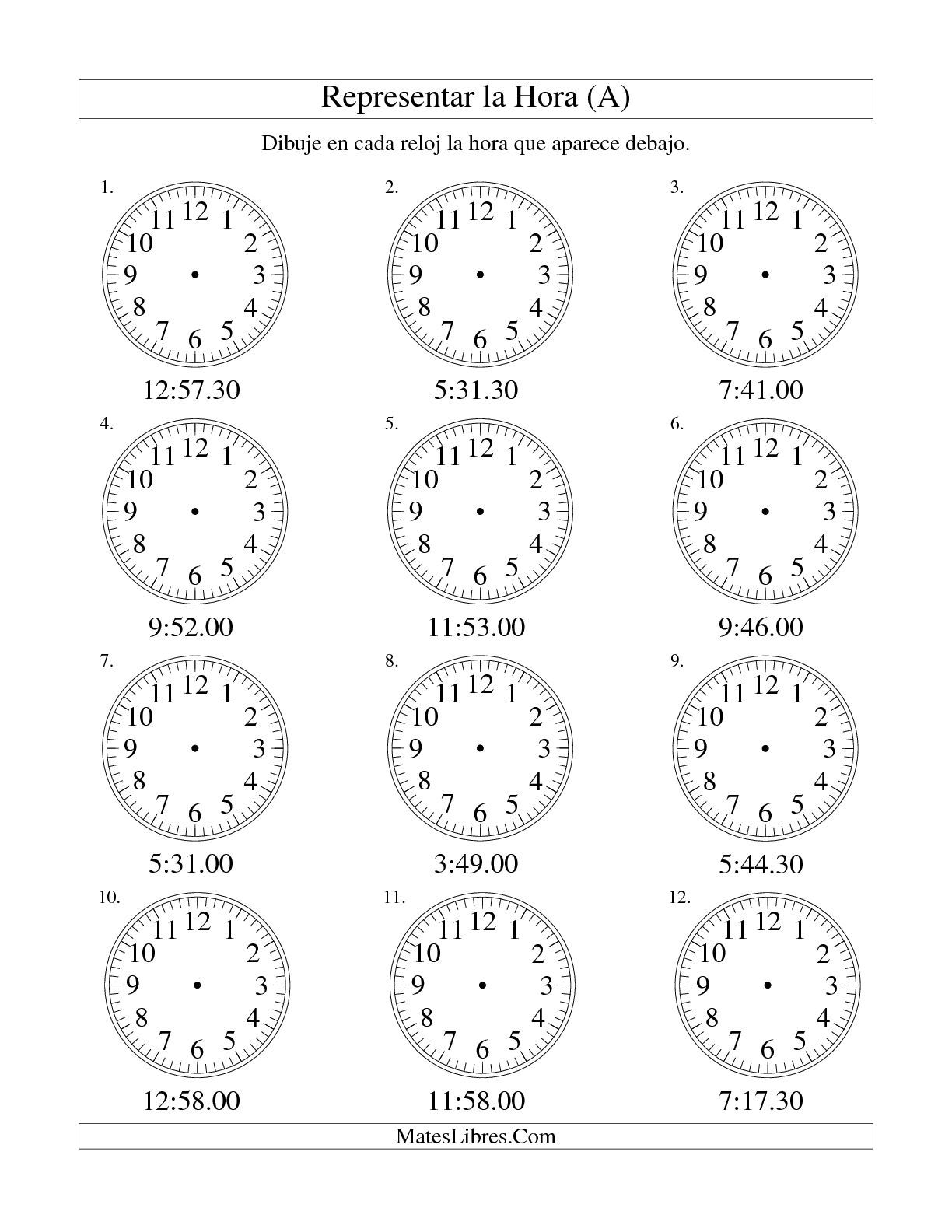 Representar La Hora En Un Relojogico En Intervalos De
