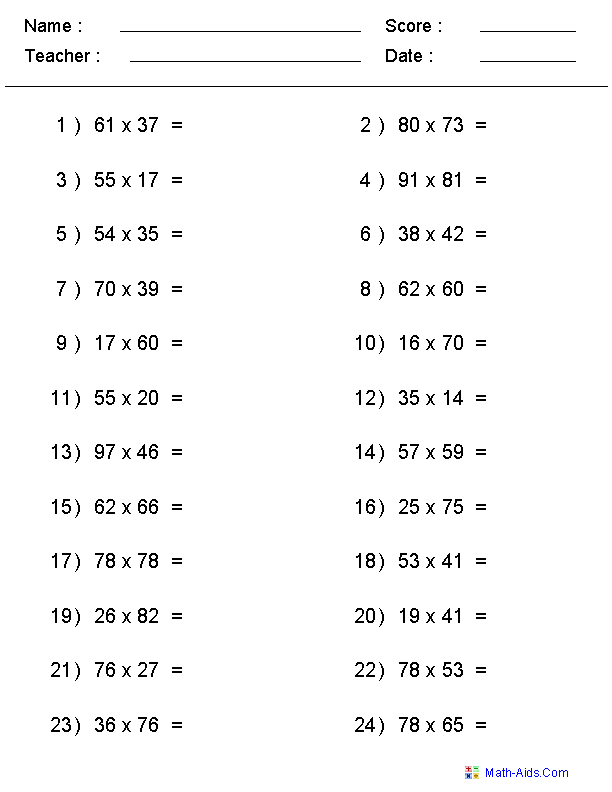 100 Question Multiplication Sheet 1 9 Mad Minute