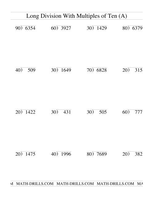 Divisi With Multiples Of 10 Two Digit Quotient