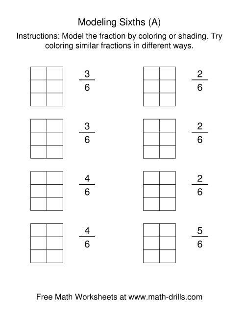 Coloring Fraction Models Sixths A Fractions Worksheet