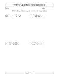 Order Of Operations With Fractions Five Steps J