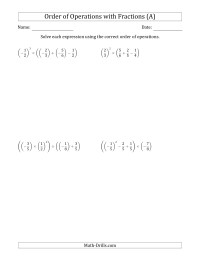 Order Of Operations With Fractions Four Steps Including