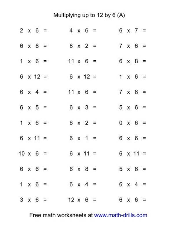 Multiplication Times Table Worksheets 0 12 – Horizontal Multiplication Facts Worksheets