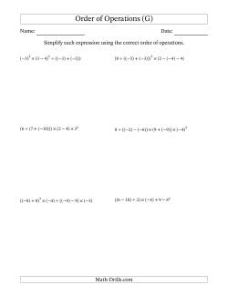Integers Order Of Operations Six Steps Including