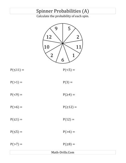 9 Section Spinner Probabilities A