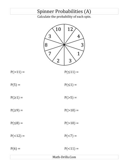 10 Section Spinner Probabilities A
