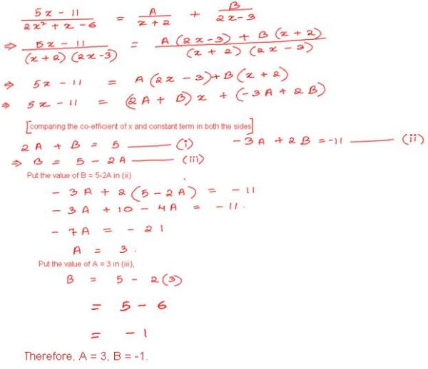 The fraction (5x-11)/(2x2 + x - 6) was obtained by adding ...
