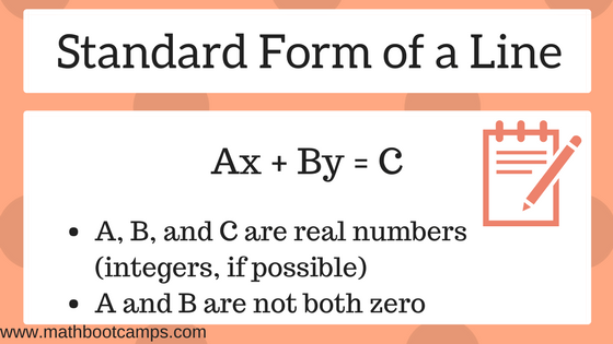 Definition of the standard form of a line; the standard form is written as Ax + By = C where A,B, and C are real numbers and if possible, integers with A being positive. A and B cannot both be zero.