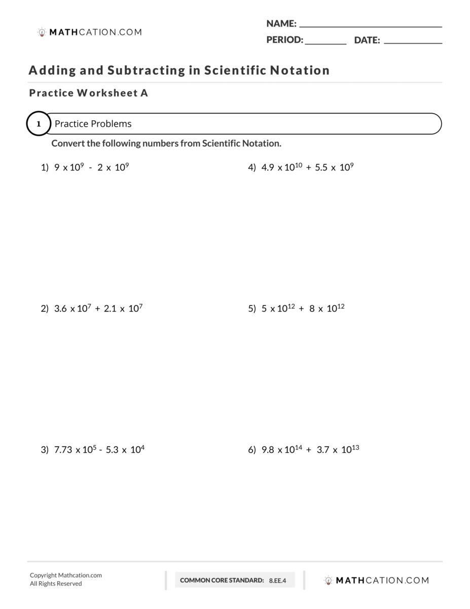 23 Easy Steps for Adding and Subtracting in Scientific Notation In Scientific Notation Worksheet With Answers