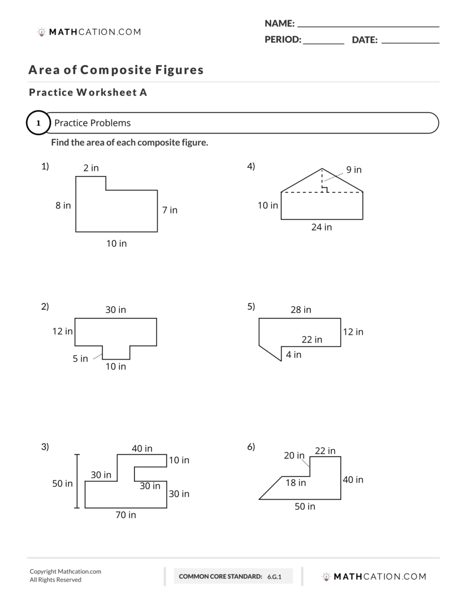 Area of Composite Figures Worksheet   Mathcation