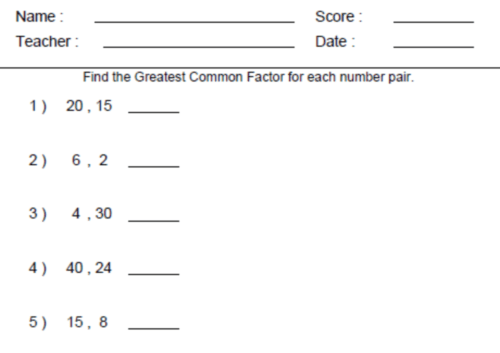 6th Grade Common Core Math Worksheets & Excel:Grade Math ...