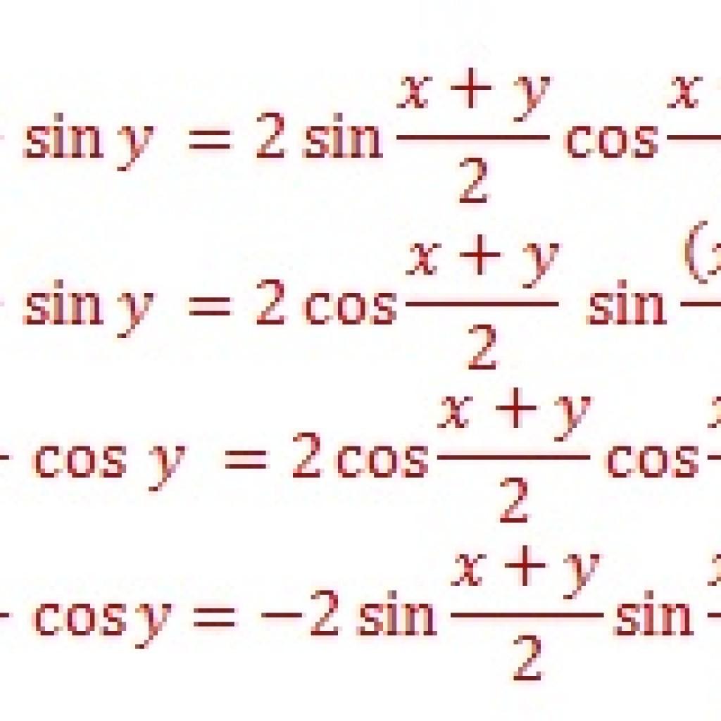 Sum Identities Trigonometry Formula