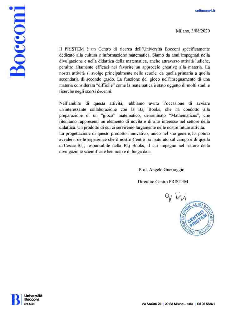 Referenza Università Bocconi per Mathematicus