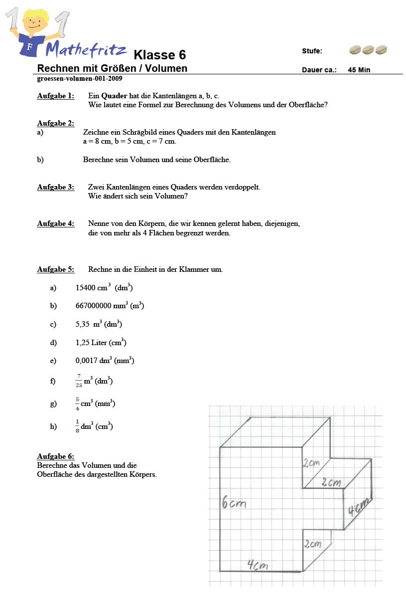 Aufgaben Volumen Quader Werfel Matheaufgaben Klasse 6