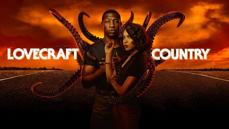 Poster for Lovecraft Country, two lead characters in front of tentacles