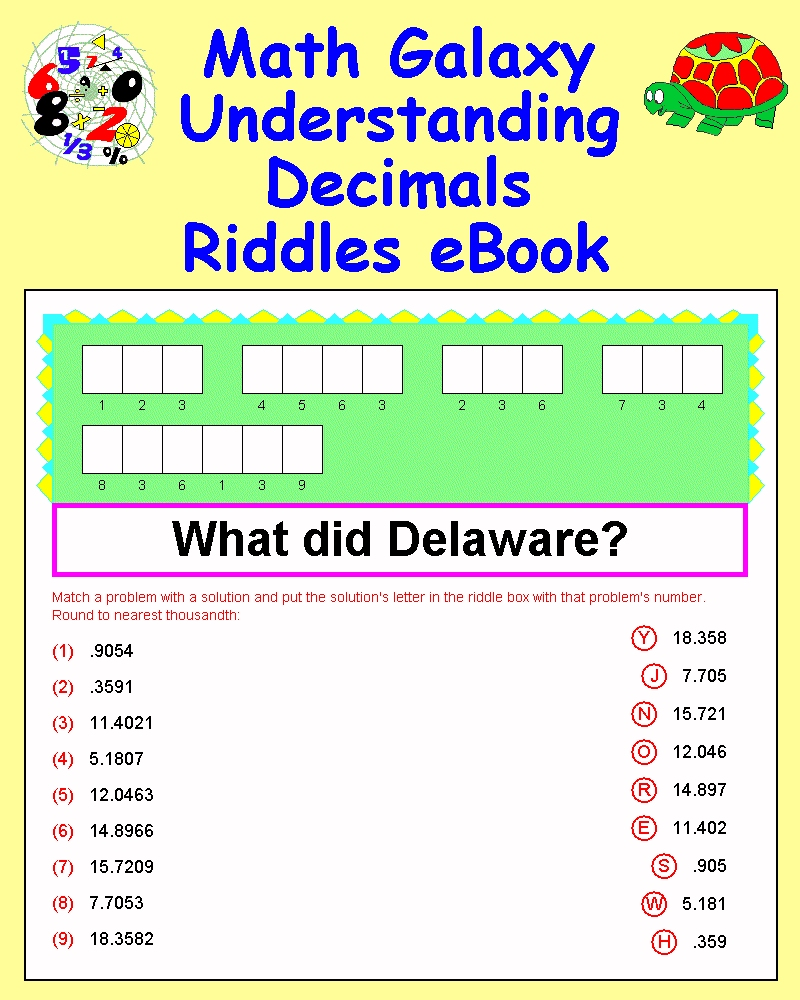 Solve The Riddle Math Worksheets