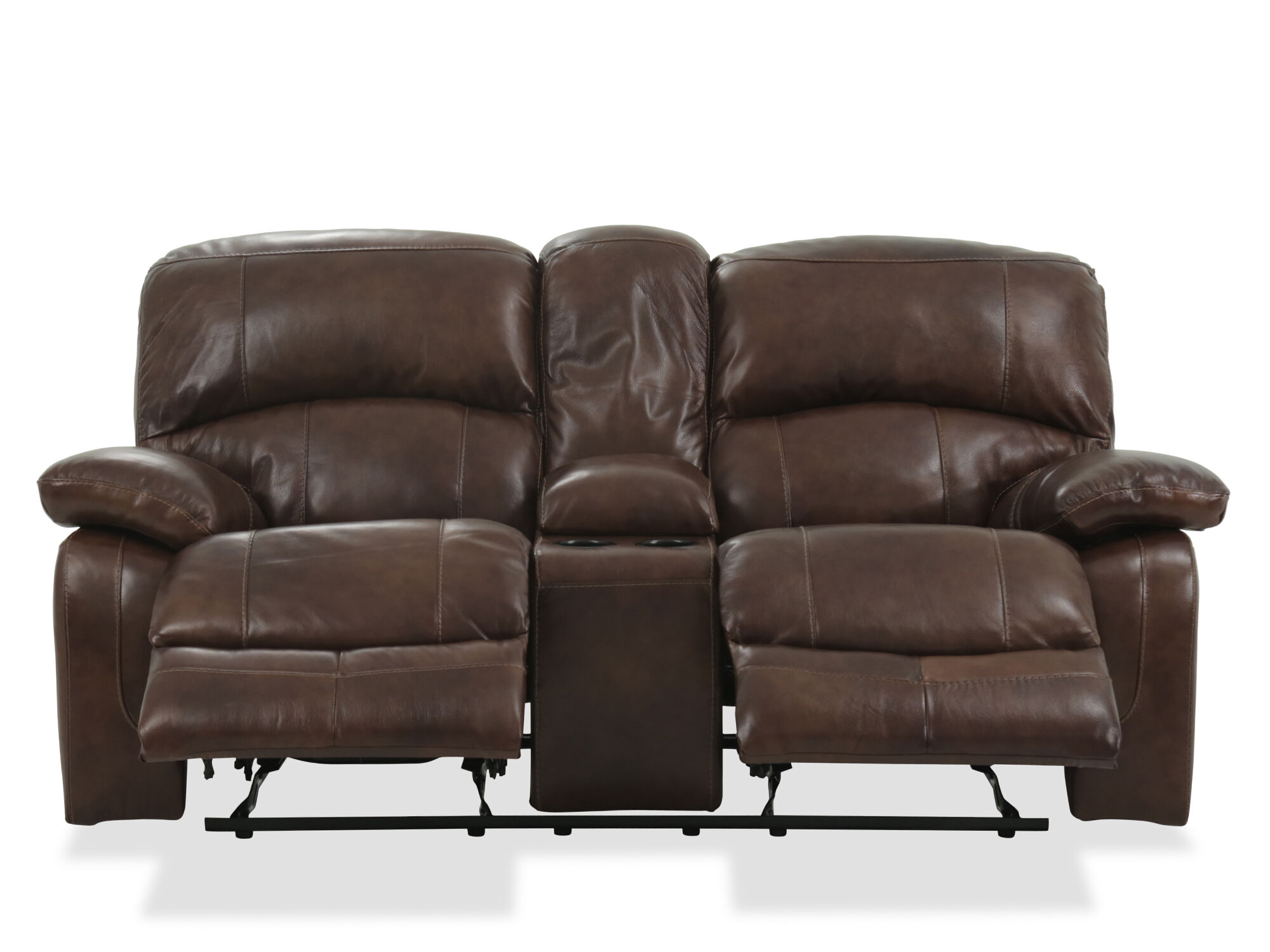 Power Reclining Leather Consoled Loveseat In Brown