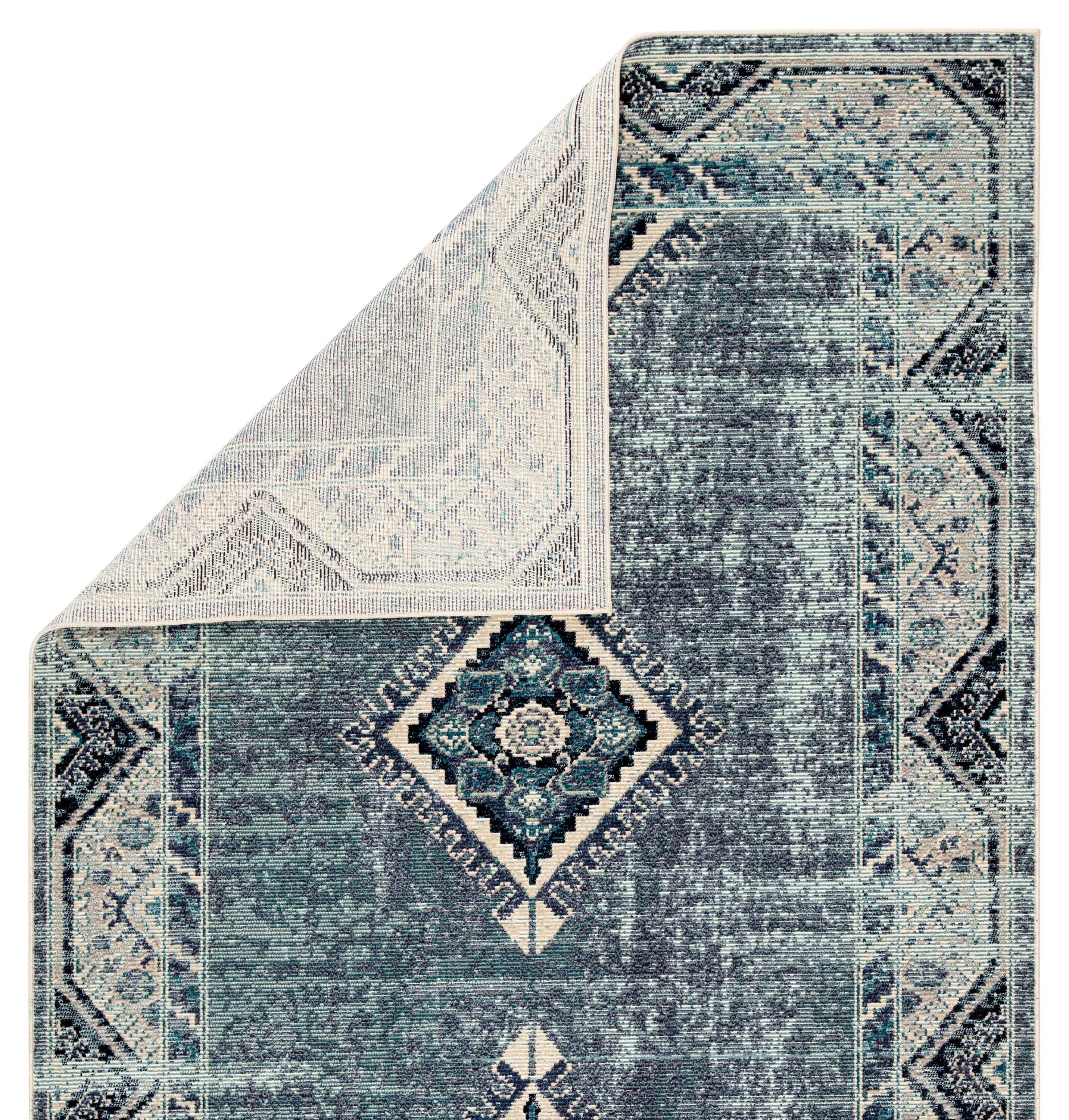 Zhara Indoor Outdoor Medallion Blue Purple Area Rug 5 3 X7 6 Mathis Brothers Furniture