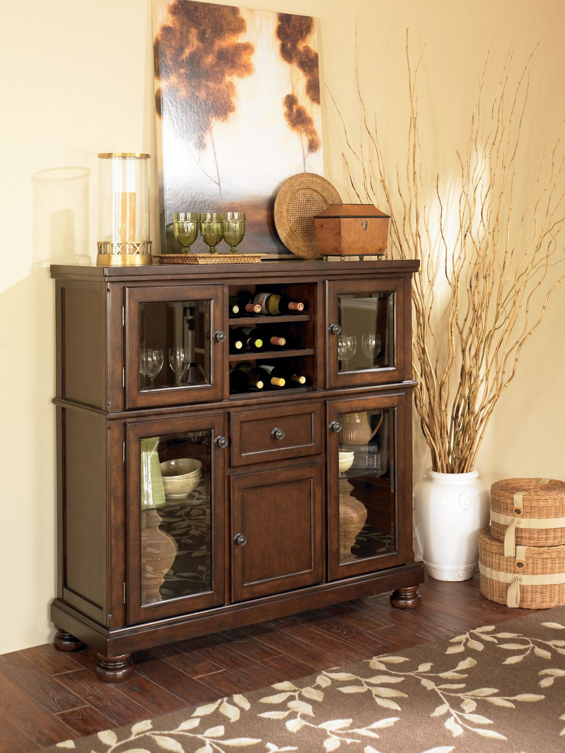 Four Glass Door 52 Server In Burnished Brown Mathis