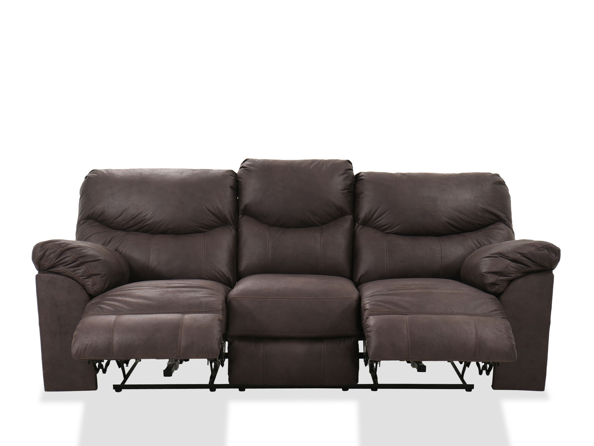 Contemporary 93 Power Reclining Sofa In Teak Mathis Brothers Furniture