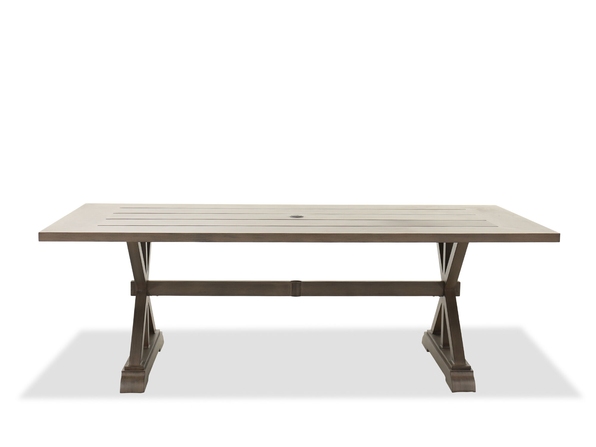 aluminum patio dining table in brown