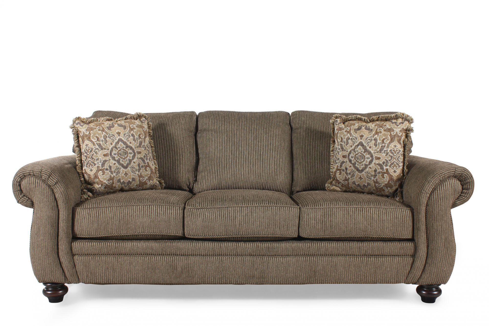 Corduroy 89 Queen Sleeper Sofa In Teak Mathis Brothers