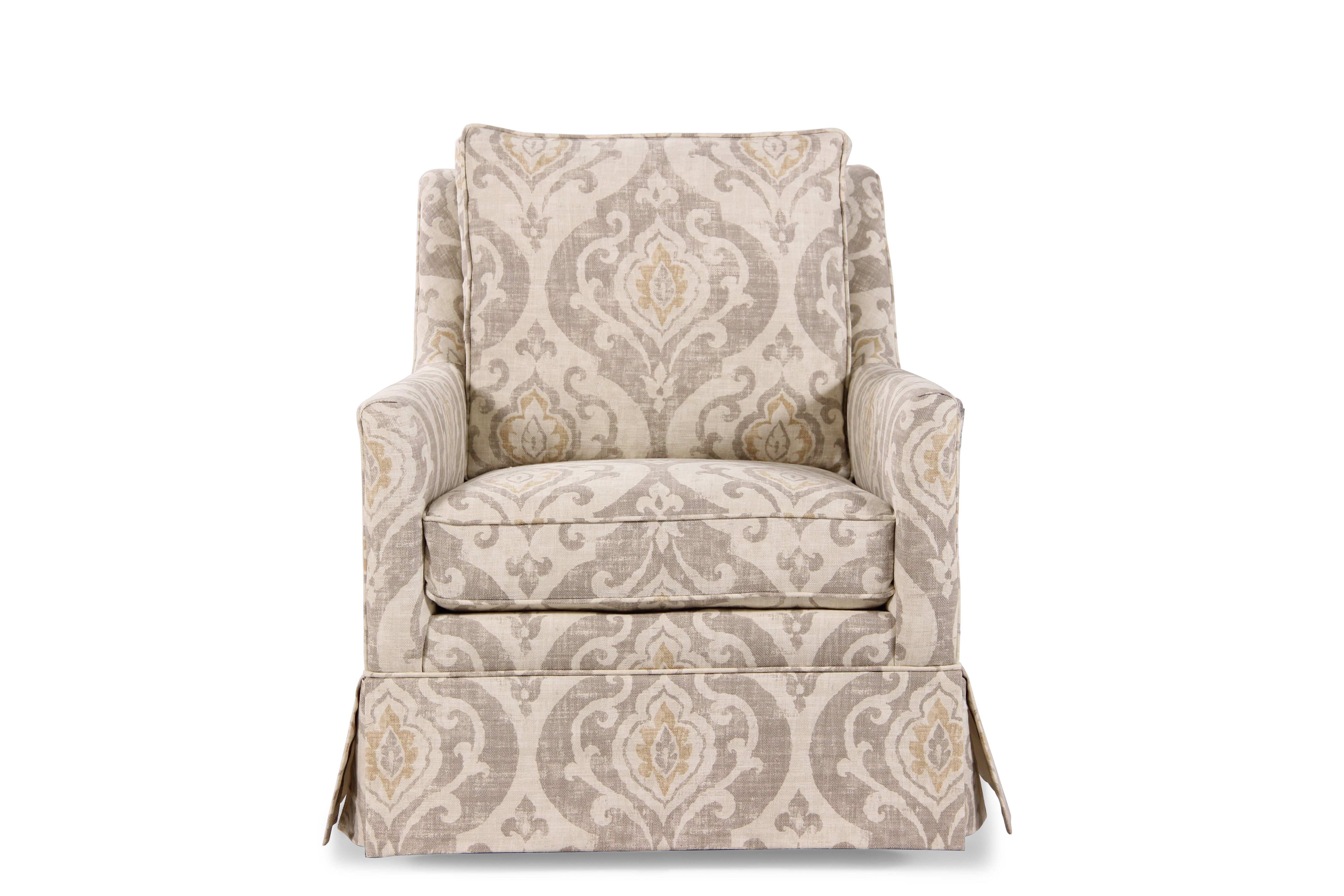 Paisley Patterned Transitional 295 Swivel Chair In Cream