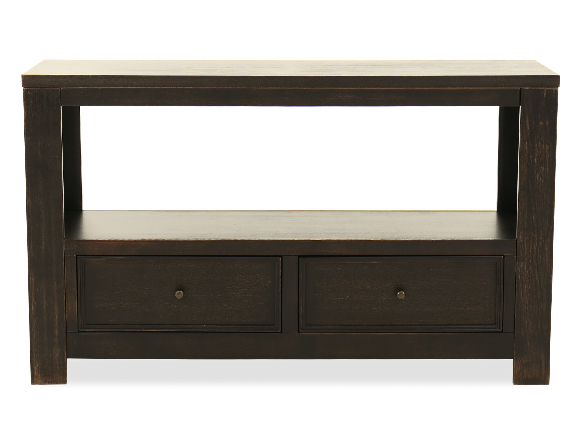 Two Drawer Casual Console Table In Vintage Black Mathis